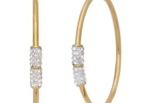 Simply Gold 10K Yellow Gold 2x42mm Hoop with Swarovski Crystal Elements Earrings 1