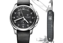Swiss Army Victorinox Officers Leather Chronograph Men's Watch, 241552.1 2