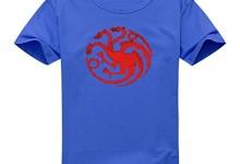 Vintage Style Game Of Thrones House Targaryen Dragon Sigil For Women's Printed Short Sleeve Tee Tshirt Large Blue
