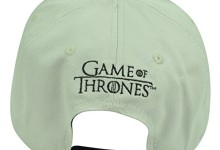 Game Of Thrones Men's Stark Metallic Patch Flat Brim Snap Back, Light Grey, One Size
