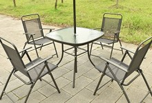 UBRTools 6PCS Patio Garden Set Furniture 4 Folding Chairs Table with Umbrella Gray New