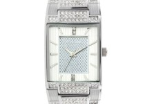 Elgin Men's Silver-Tone White Dial Crystal Accented Bracelet Watch
