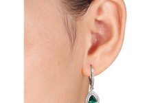 1-7/8 Carat T.G.W. Created Emerald and Created White Sapphire Sterling Silver Teardrop Leverback Earrings 2