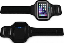 iPhone 6 6S PLUS Armband: Stalion® Sports Running & Exercise Gym Sportband (5.5-Inch)(Jet Black)Water Resistant + Sweat Proof + Key Holder + ID / Credit Card / Money Holder