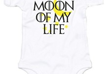 Moon Of My Life, Printed Baby Grow – White/Black/Yellow 3-6 Months